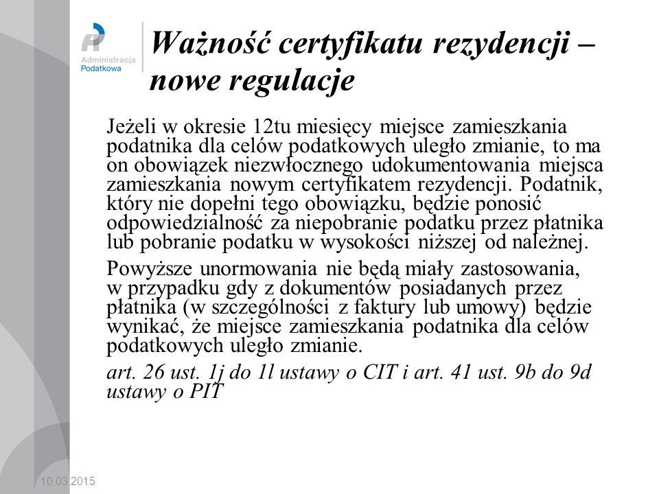 Ważność certyfikatu rezydencji – nowe regulacje
