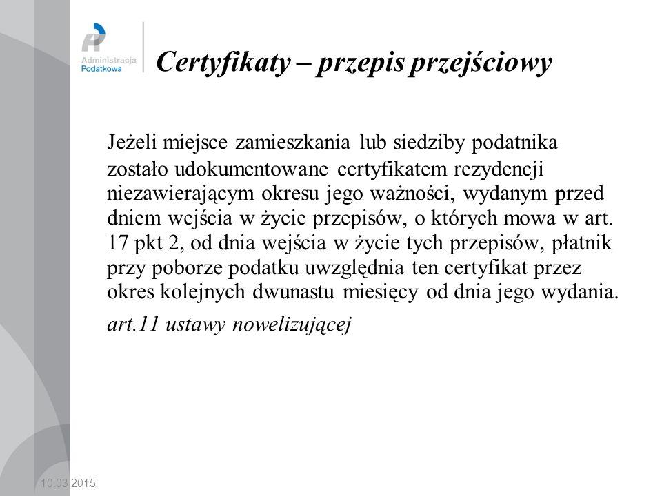 Certyfikaty – przepis przejściowy