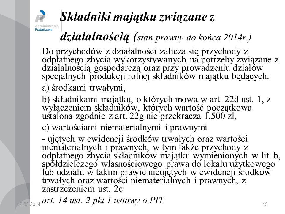 Składniki majątku związane z działalnością (stan prawny do końca 2014r
