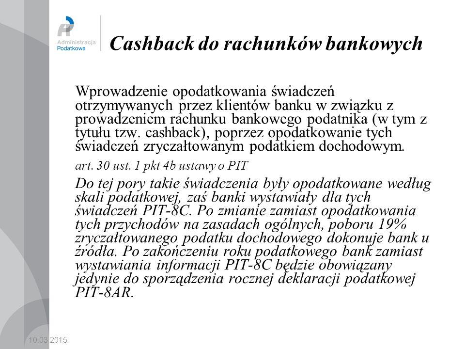 Cashback do rachunków bankowych