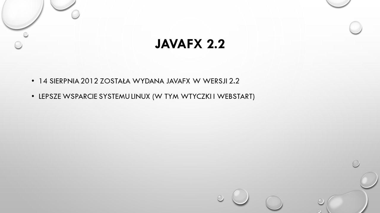 JavaFX 2.2 14 sierpnia 2012 została wydana javafx w wersji 2.2