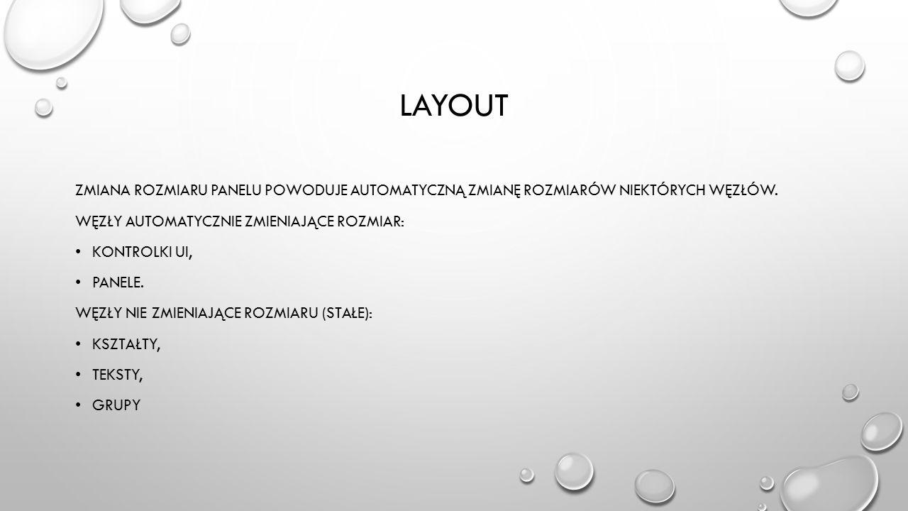 lAYOUT Zmiana rozmiaru panelu powoduje automatyczną zmianę rozmiarów niektórych węzłów. Węzły automatycznie zmieniające rozmiar: