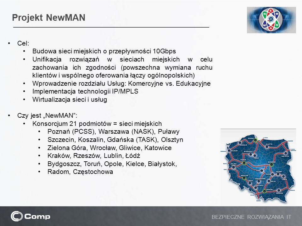 Projekt NewMAN Cel: Budowa sieci miejskich o przepływności 10Gbps