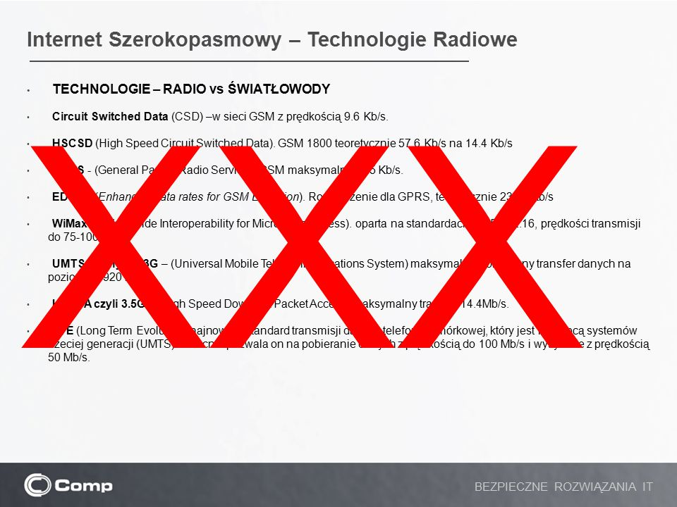 XXX Internet Szerokopasmowy – Technologie Radiowe