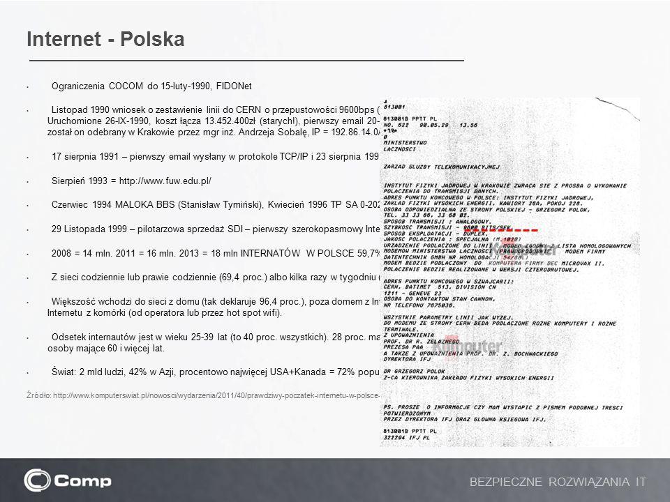 Internet - Polska BEZPIECZNE ROZWIĄZANIA IT