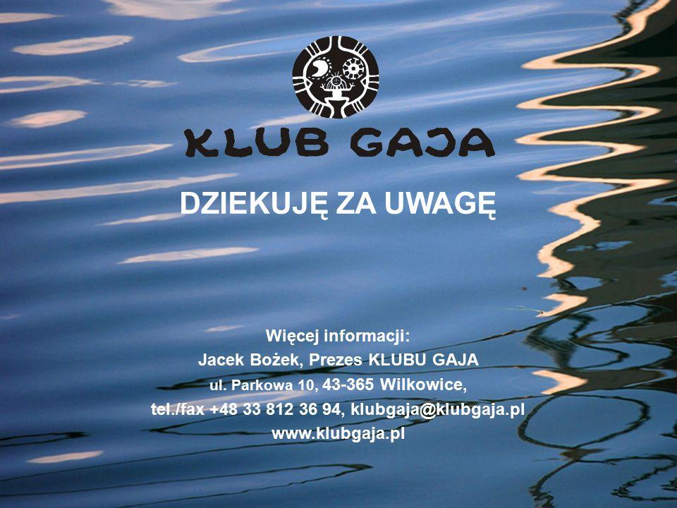DZIEKUJĘ ZA UWAGĘ Więcej informacji: Jacek Bożek, Prezes KLUBU GAJA