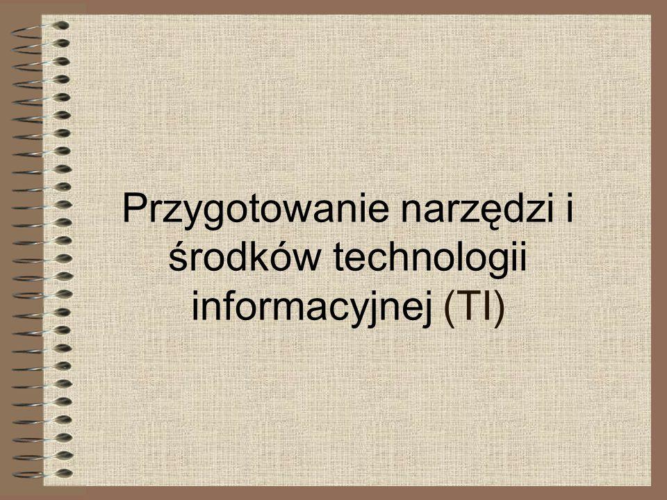Przygotowanie narzędzi i środków technologii informacyjnej (TI)