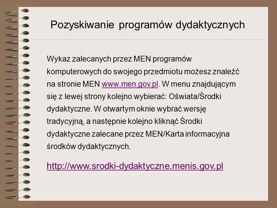 Pozyskiwanie programów dydaktycznych