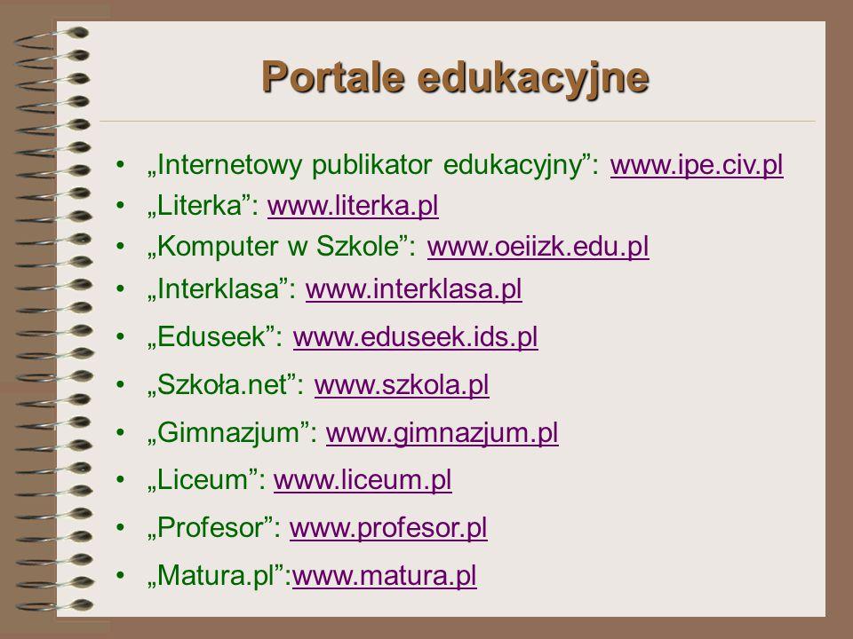 """Portale edukacyjne """"Internetowy publikator edukacyjny : www.ipe.civ.pl"""