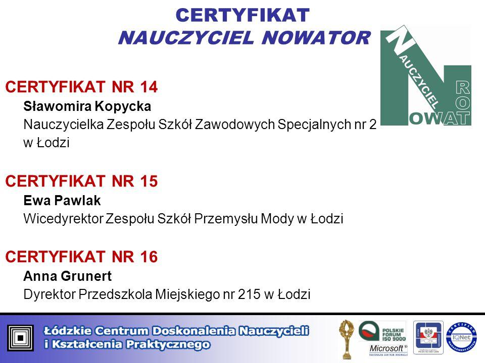 CERTYFIKAT NAUCZYCIEL NOWATOR