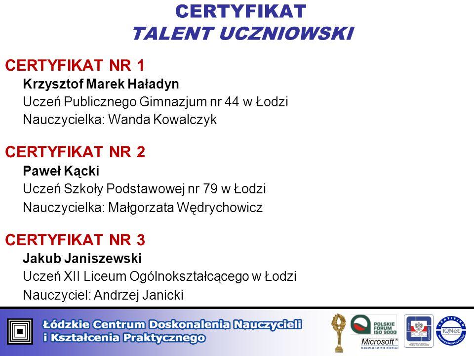 CERTYFIKAT TALENT UCZNIOWSKI