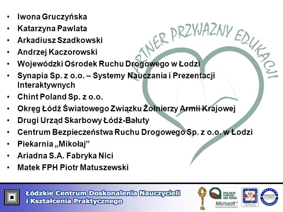 Iwona Gruczyńska Katarzyna Pawlata. Arkadiusz Szadkowski. Andrzej Kaczorowski. Wojewódzki Ośrodek Ruchu Drogowego w Łodzi.