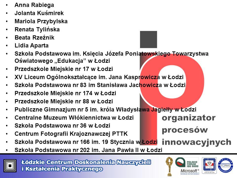 Anna Rabiega Jolanta Kuśmirek. Mariola Przybylska. Renata Tylińska. Beata Rzeźnik. Lidia Aparta.