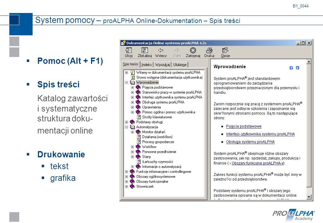 System pomocy – proALPHA Online-Dokumentation – Spis treści