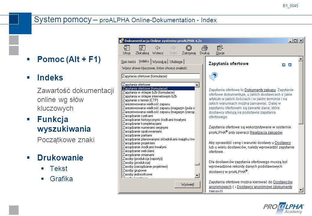 System pomocy – proALPHA Online-Dokumentation - Index