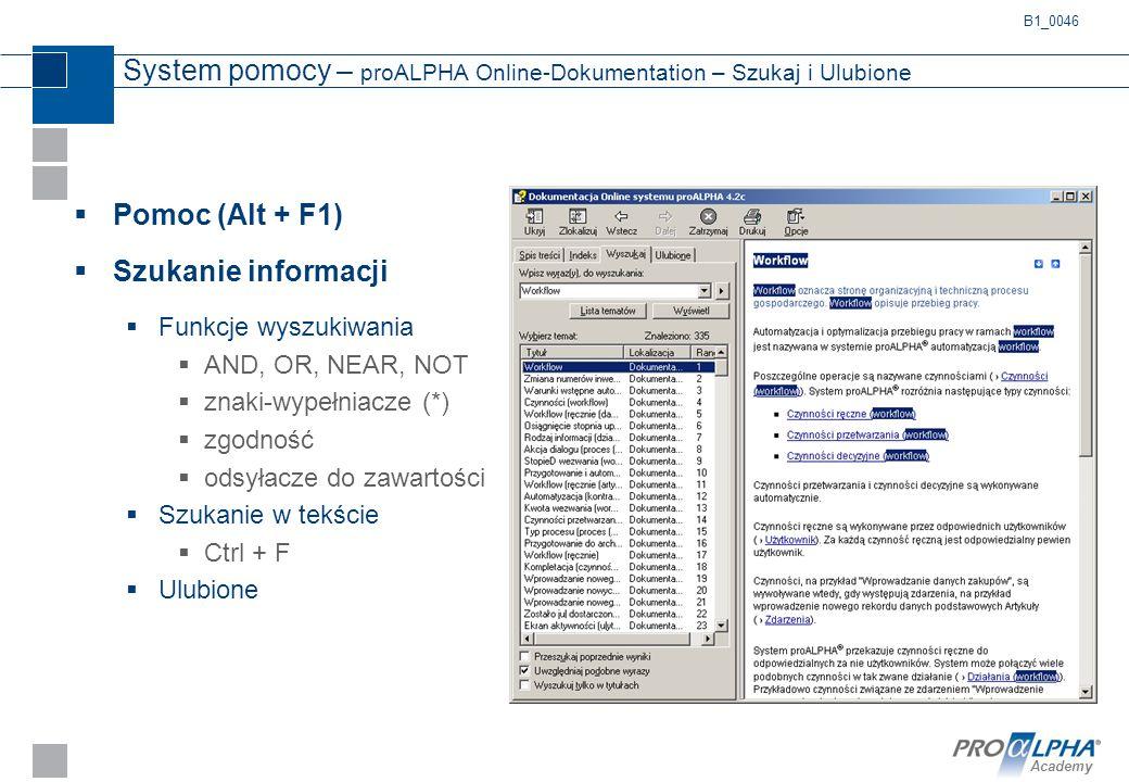 System pomocy – proALPHA Online-Dokumentation – Szukaj i Ulubione