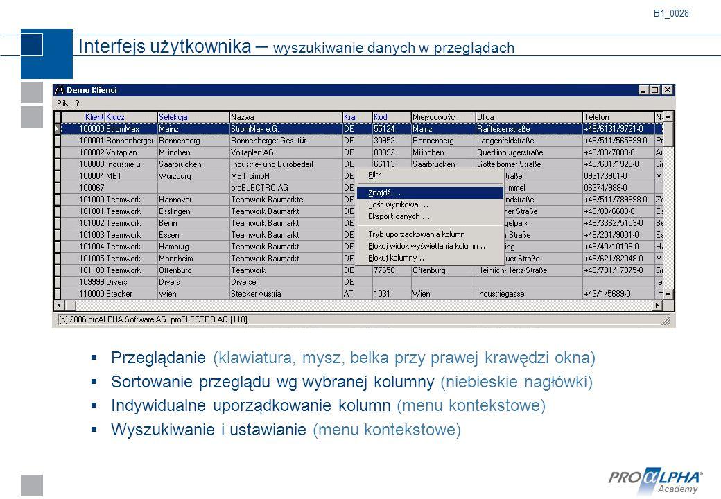 Interfejs użytkownika – wyszukiwanie danych w przeglądach