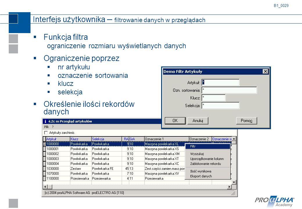 Interfejs użytkownika – filtrowanie danych w przeglądach