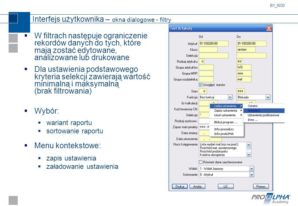 Interfejs użytkownika – okna dialogowe - filtry