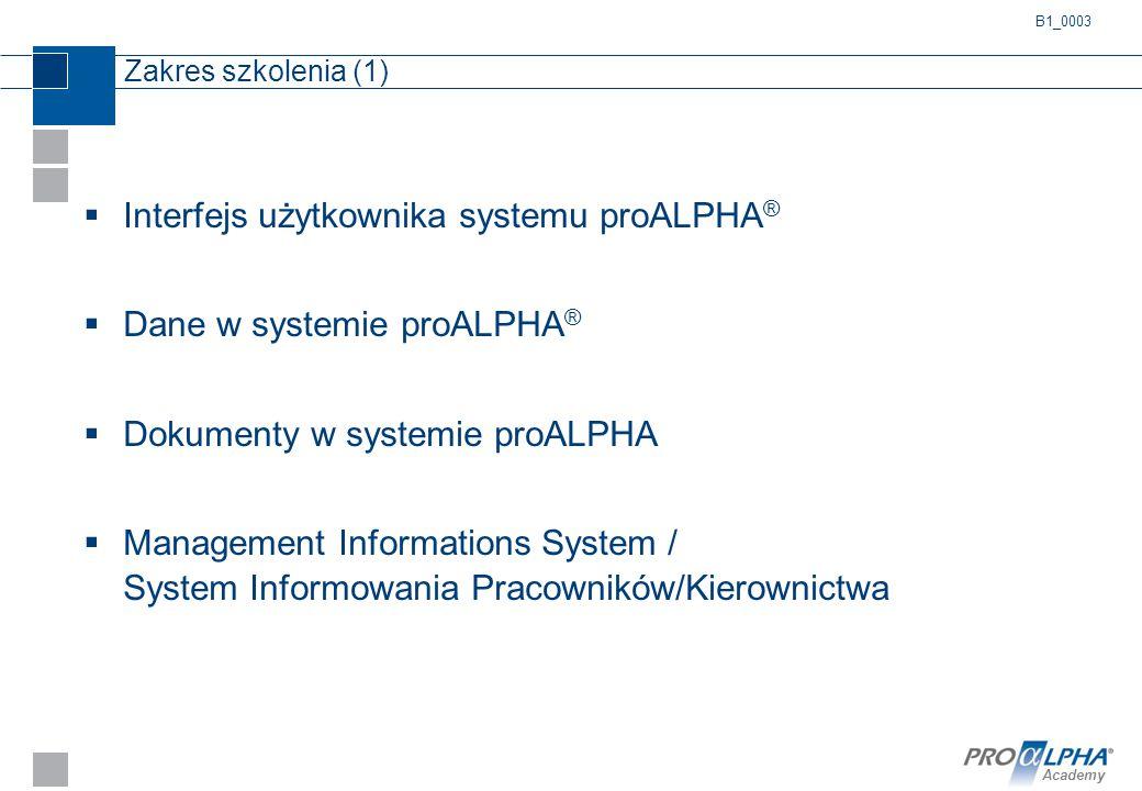 Interfejs użytkownika systemu proALPHA® Dane w systemie proALPHA®