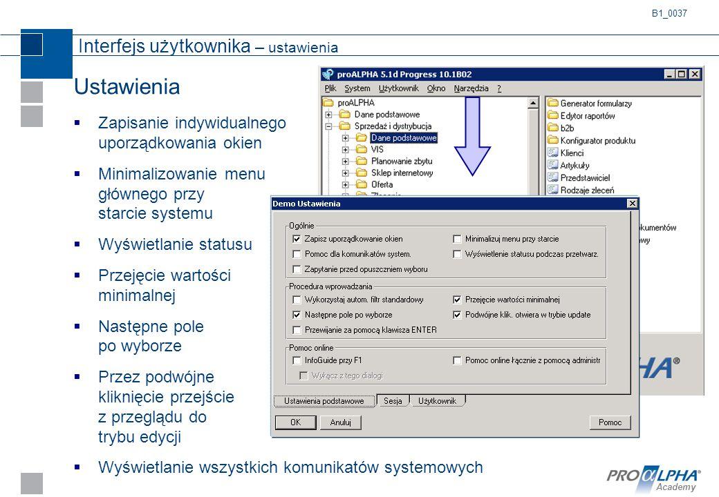 Interfejs użytkownika – ustawienia