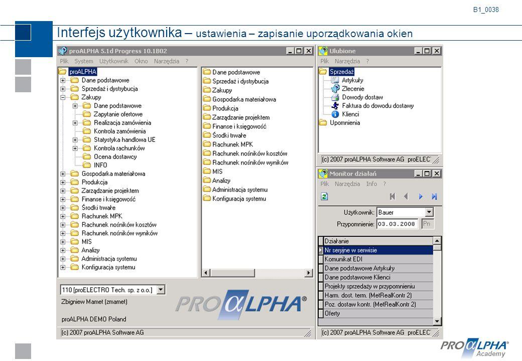 Interfejs użytkownika – ustawienia – zapisanie uporządkowania okien