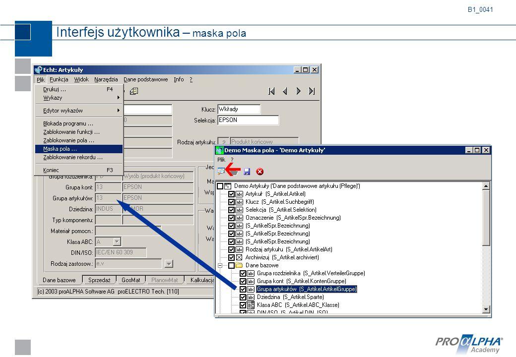 Interfejs użytkownika – maska pola