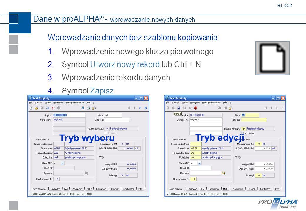 Dane w proALPHA® - wprowadzanie nowych danych