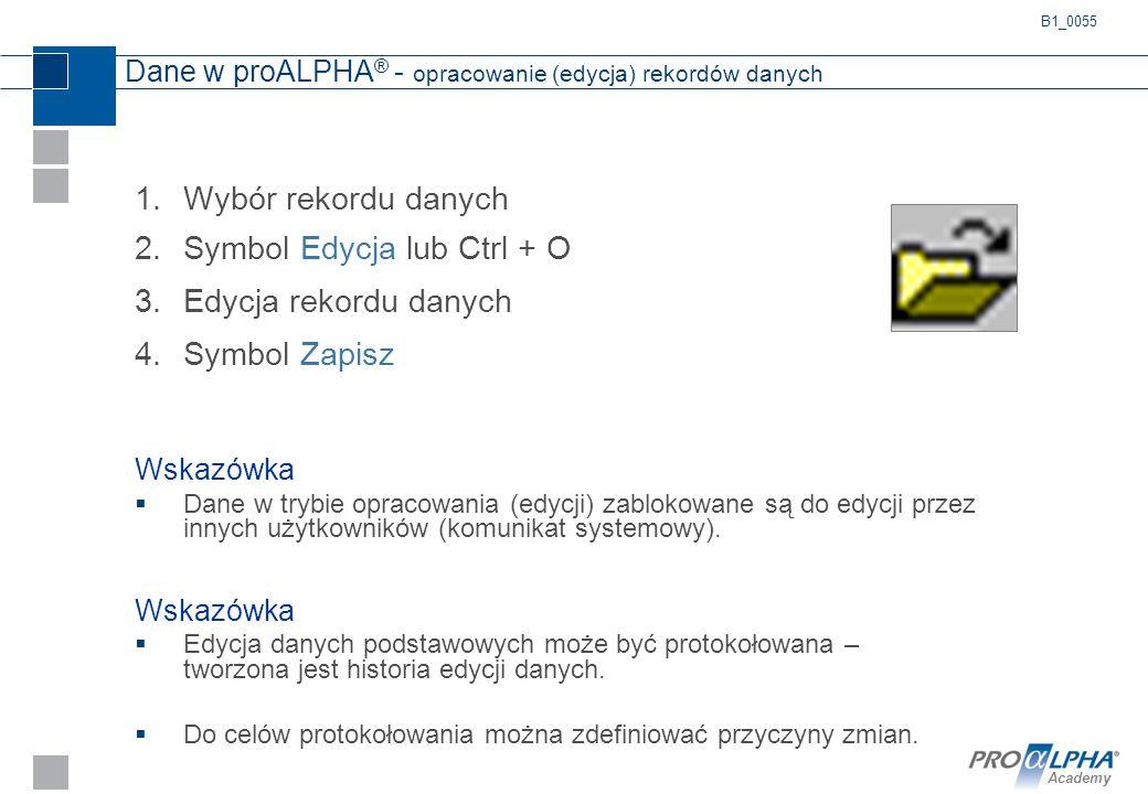 Dane w proALPHA® - opracowanie (edycja) rekordów danych