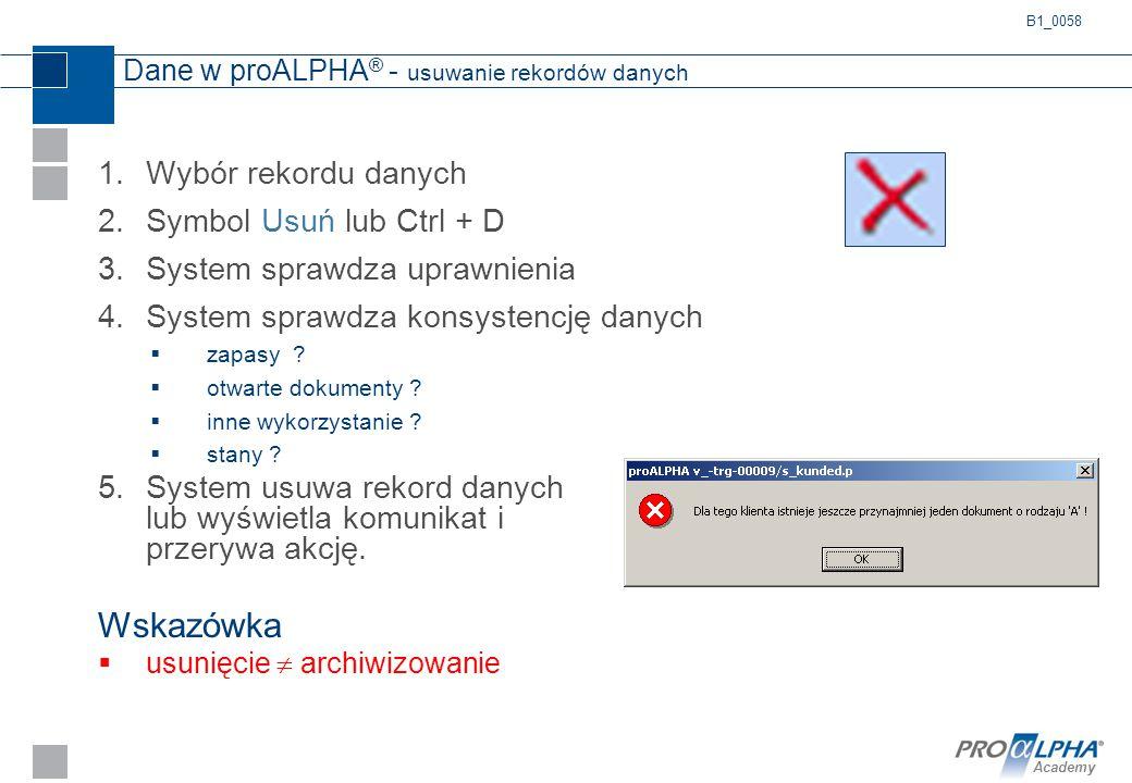 Dane w proALPHA® - usuwanie rekordów danych