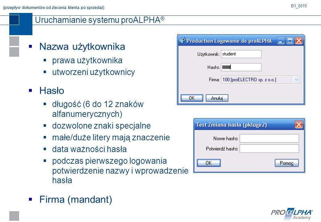 Uruchamianie systemu proALPHA®