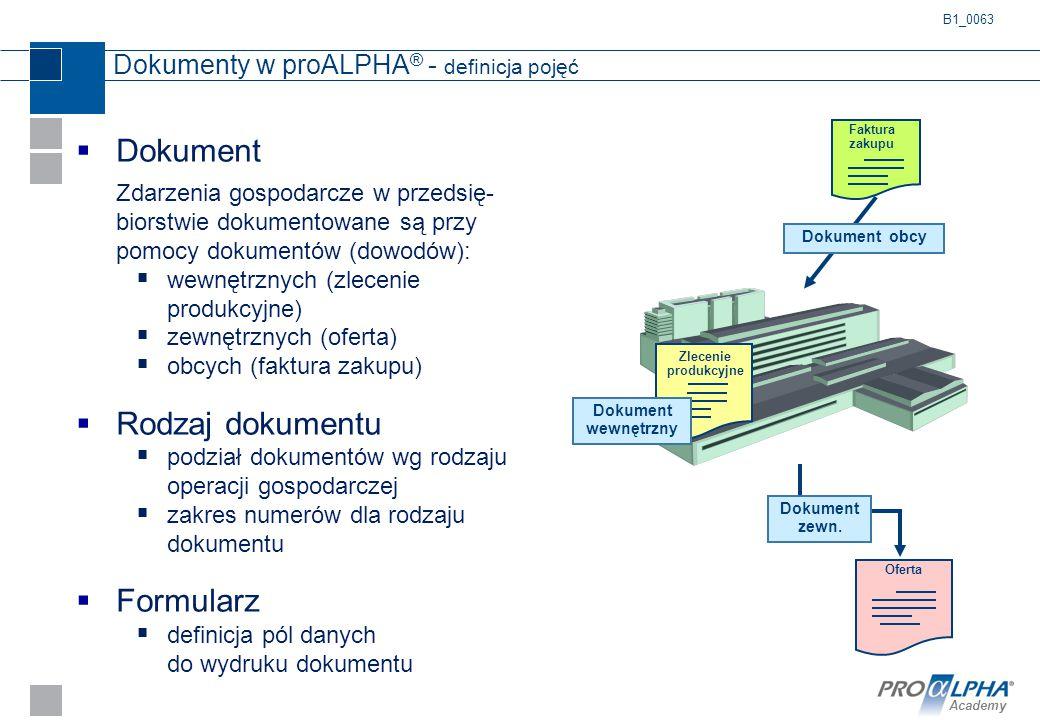 Dokumenty w proALPHA® - definicja pojęć