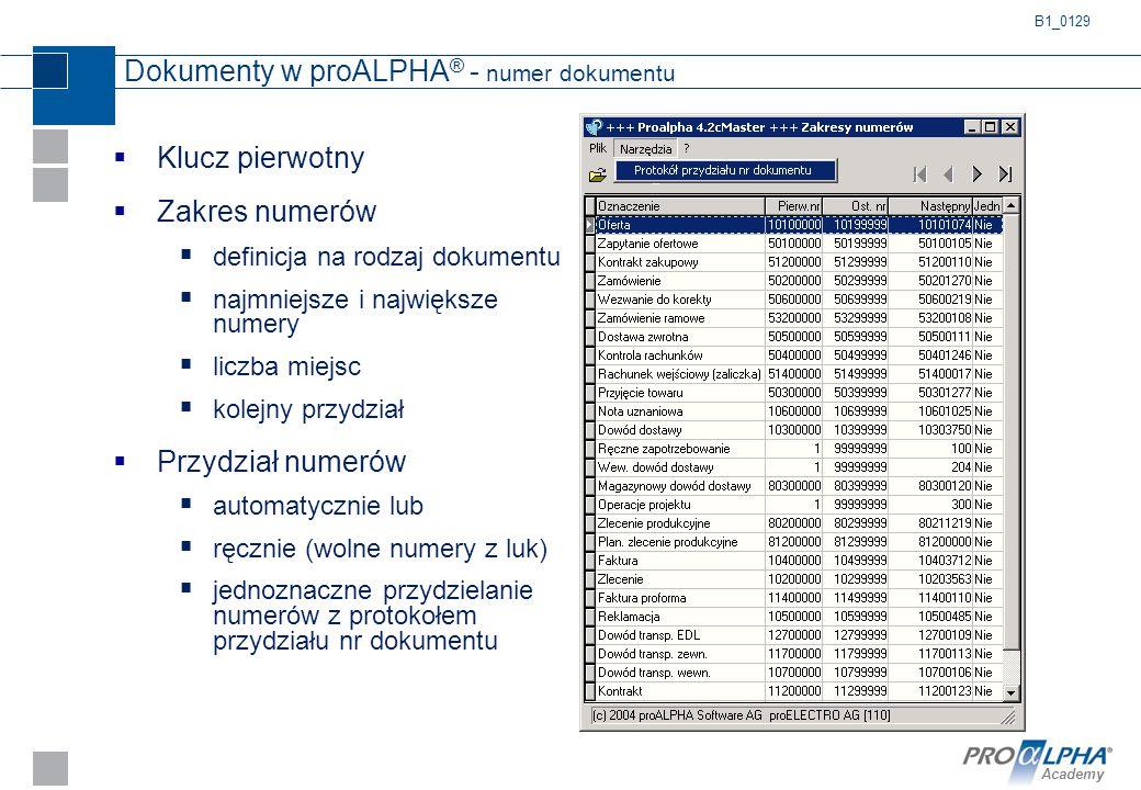 Dokumenty w proALPHA® - numer dokumentu