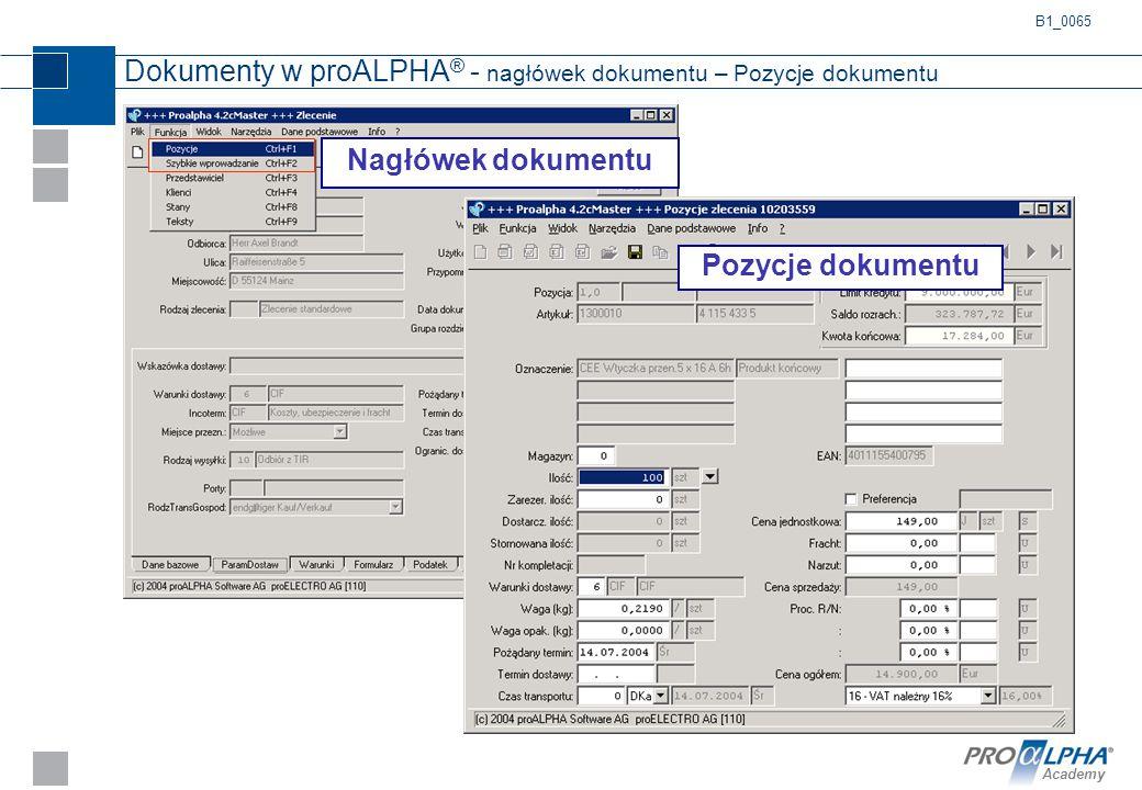 Dokumenty w proALPHA® - nagłówek dokumentu – Pozycje dokumentu