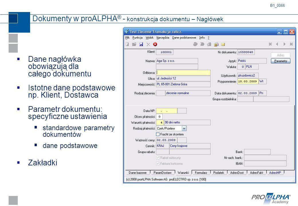 Dokumenty w proALPHA® - konstrukcja dokumentu – Nagłówek