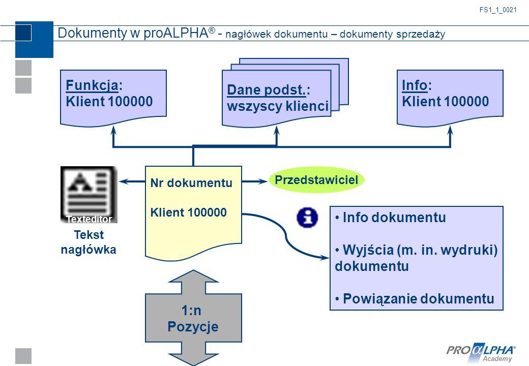 Dokumenty w proALPHA® - nagłówek dokumentu – dokumenty sprzedaży