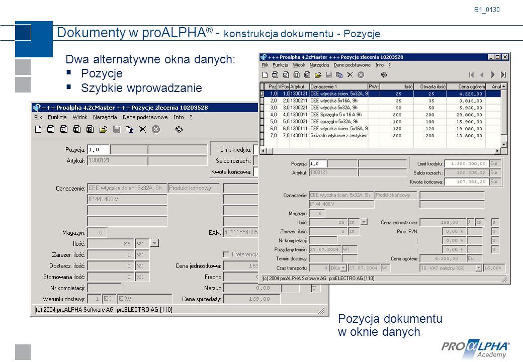 Dokumenty w proALPHA® - konstrukcja dokumentu - Pozycje