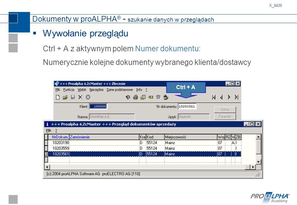 Dokumenty w proALPHA® - szukanie danych w przeglądach