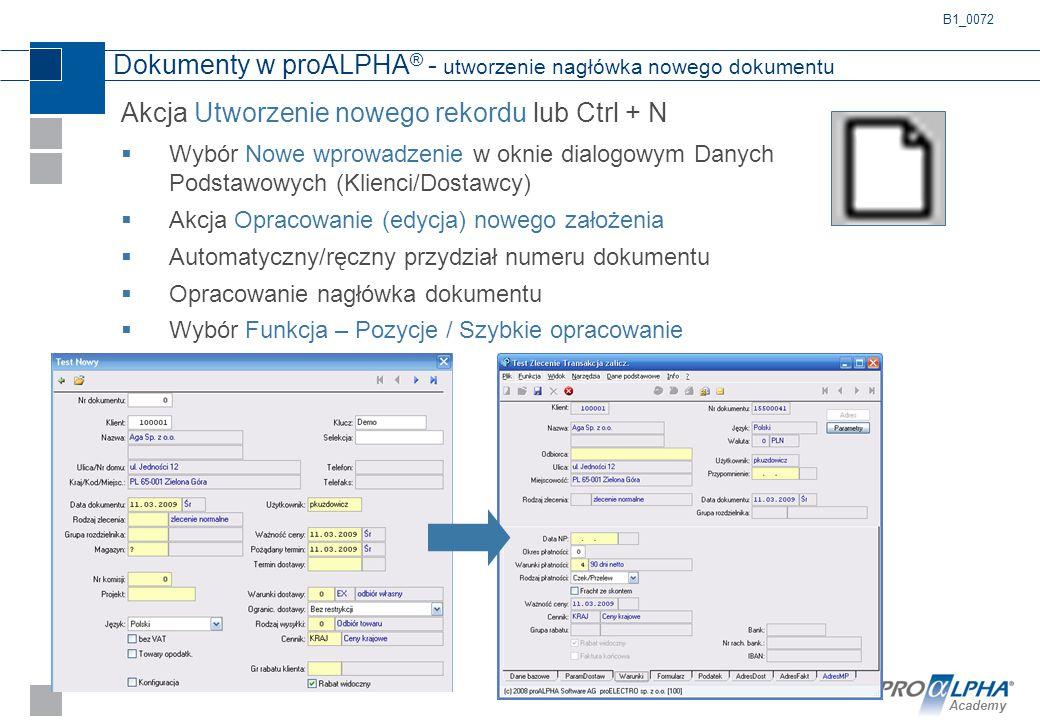 Dokumenty w proALPHA® - utworzenie nagłówka nowego dokumentu