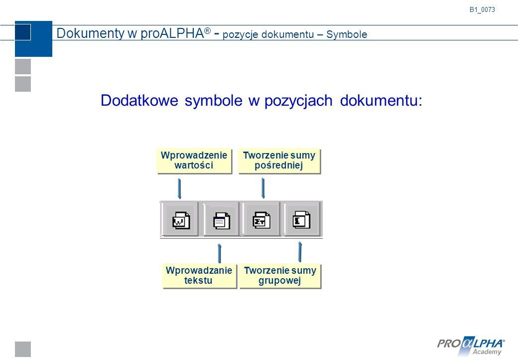 Dokumenty w proALPHA® - pozycje dokumentu – Symbole