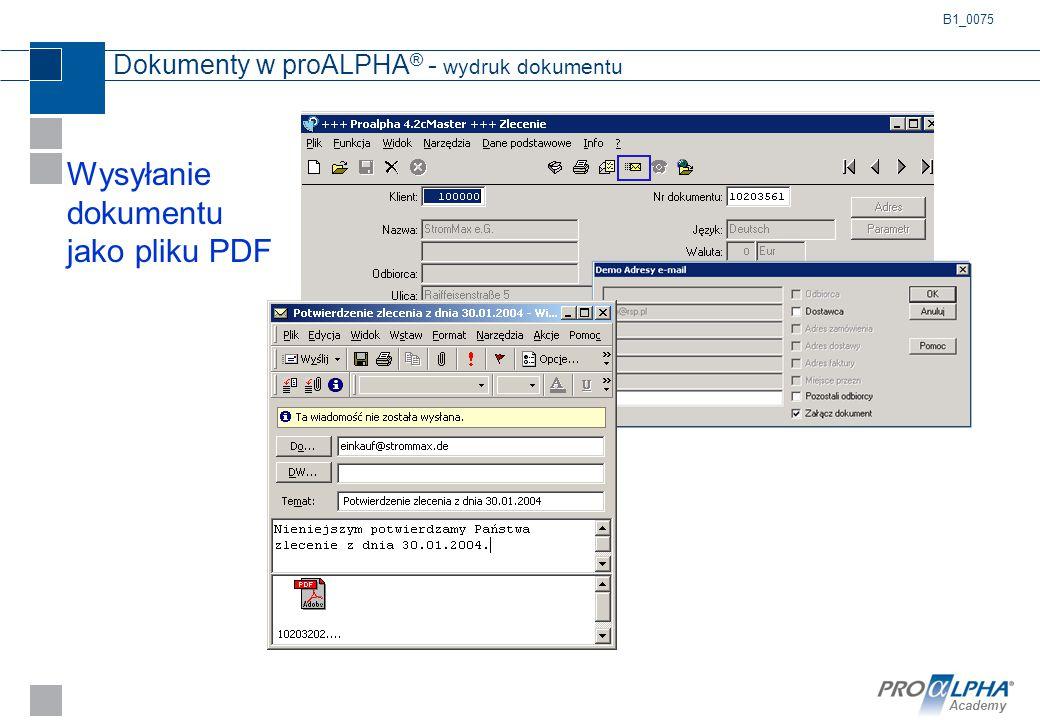 Dokumenty w proALPHA® - wydruk dokumentu
