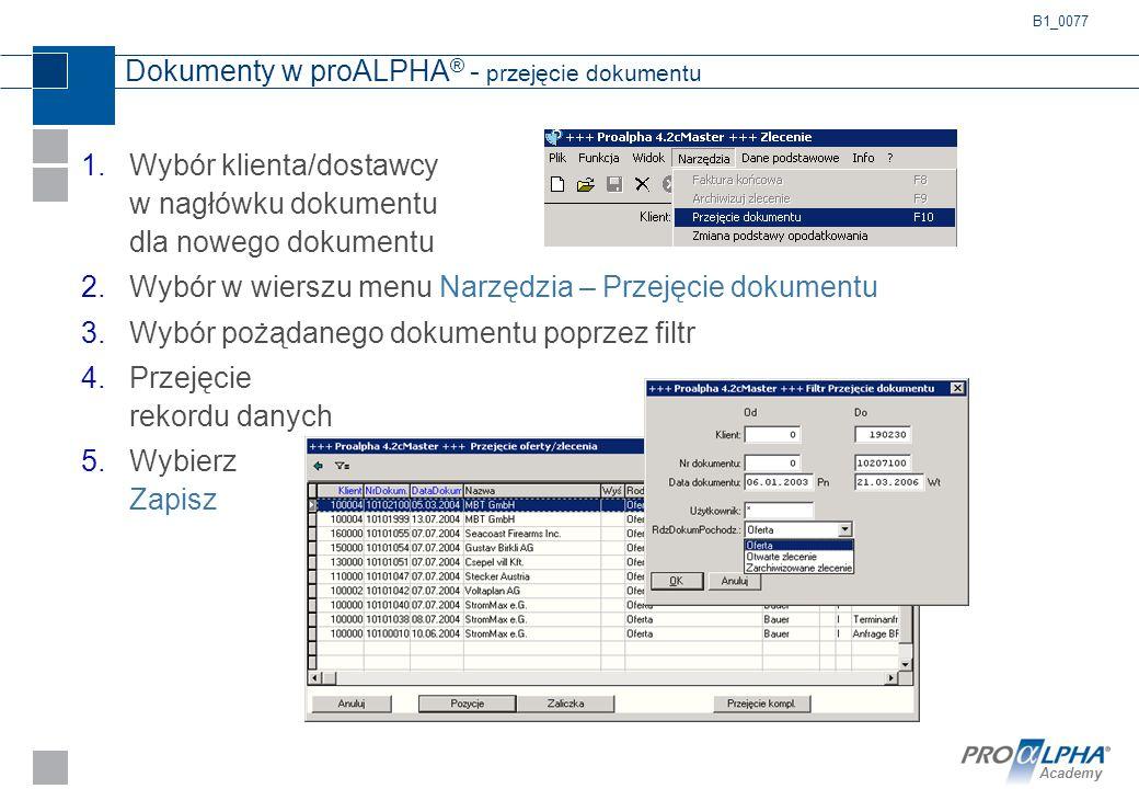 Dokumenty w proALPHA® - przejęcie dokumentu