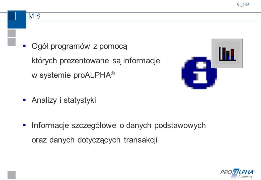 B1_0108 MIS. Ogół programów z pomocą których prezentowane są informacje w systemie proALPHA® Analizy i statystyki.