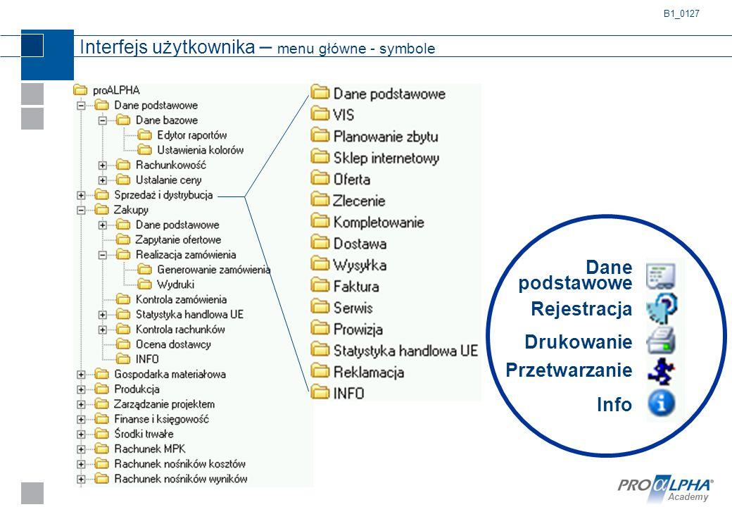 Interfejs użytkownika – menu główne - symbole