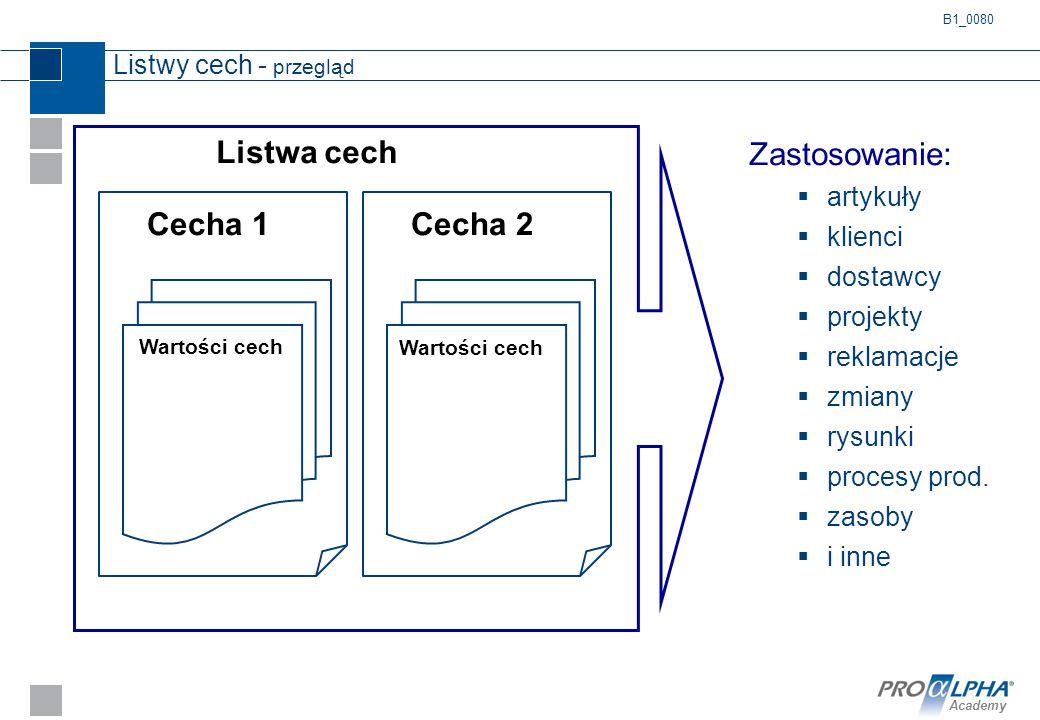 Listwa cech Zastosowanie: Cecha 1 Cecha 2 Listwy cech - przegląd