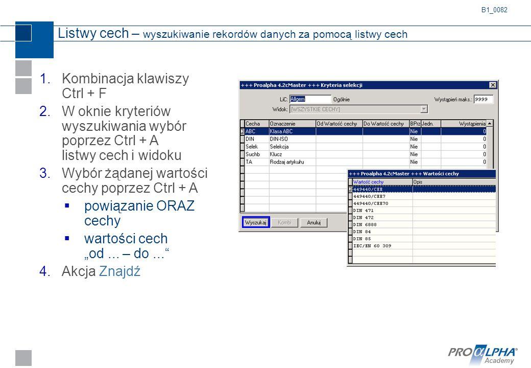 Listwy cech – wyszukiwanie rekordów danych za pomocą listwy cech