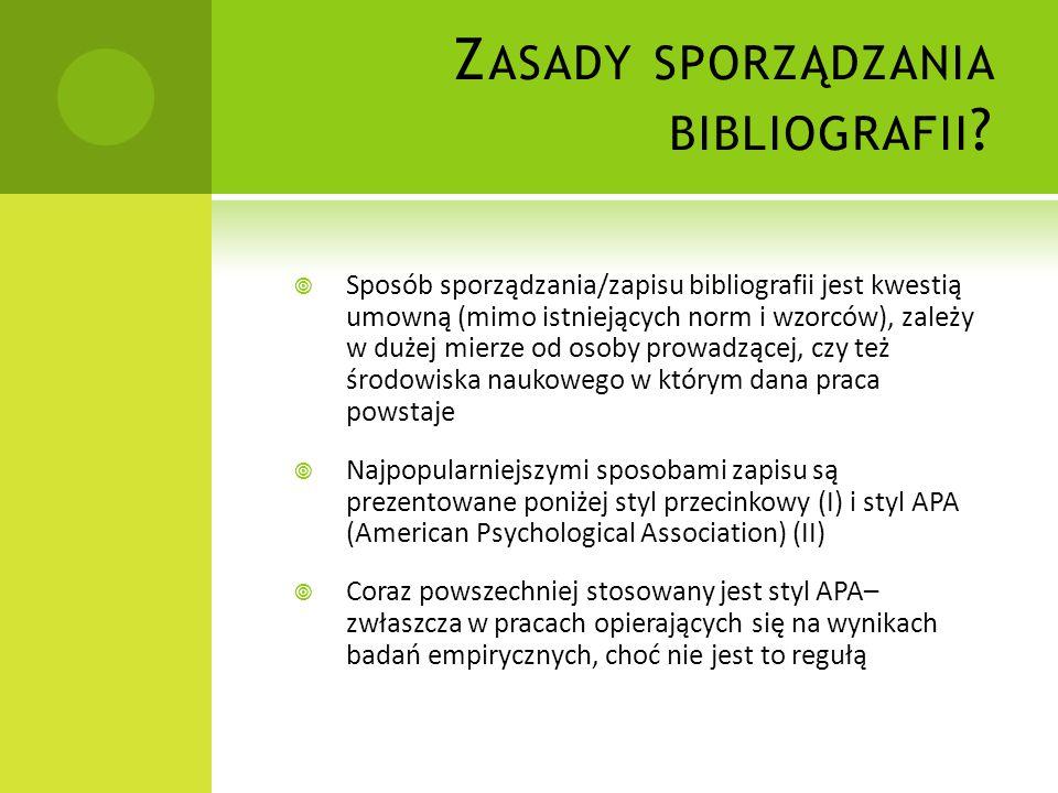 Zasady sporządzania bibliografii