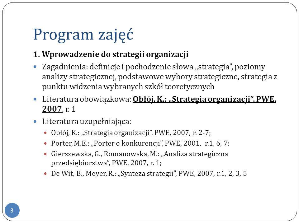 Program zajęć 1. Wprowadzenie do strategii organizacji