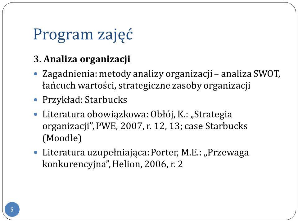 Program zajęć 3. Analiza organizacji