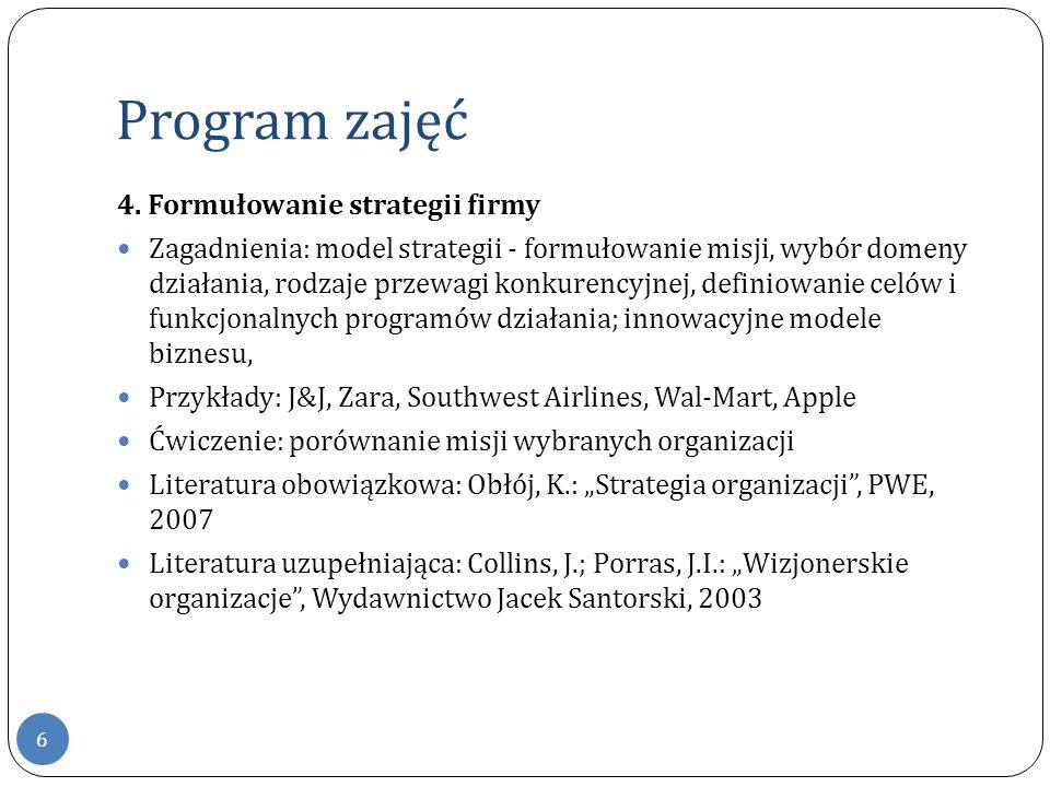 Program zajęć 4. Formułowanie strategii firmy